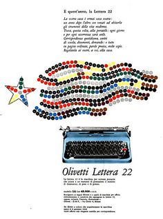 designed by Giovanni Pintori for the Olivetti Lettera 22 - 1958 Vintage Advertisements, Vintage Ads, Vintage Posters, Olivetti Typewriter, Office Items, Vintage Office, Ad Art, Book Art, Poster Prints