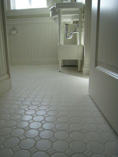 Floor Design, : Excellent Small White Bathroom Decoration With White Bathroom Wainscoting Including White Octagon Tile Bathroom Flooring And White Wood Console Bathroom Sinks Best Bathroom Flooring, Bathroom Floor Tiles, Basement Flooring, Modern Bathroom, Flooring Ideas, White Bathroom, Tile Bathrooms, Kitchen Flooring, Tile Flooring