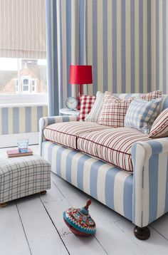 Combining Sky Blue and Poppy red, our Serenity fabric creates a cool and modern take on a classic design. #barkerandbarker #madeinbritain #stripes