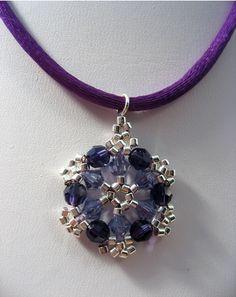 Purple Snowflake Woven Pendant