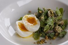 Fresh Basil, Mushrooms, Pistachios, Soft Boiled Egg, Grape Seed Oil.