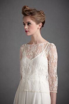 BHLDN - Appolinaire Blouse  (lace blouse to wear over dress might be an idea?)