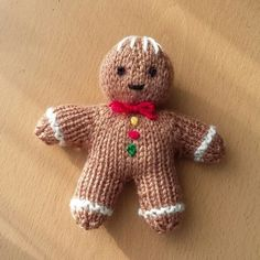 Gingerbread man Knitting pattern by Claire Fairall Always wanted to learn how to knit, yet uncertain the place to begin? This particular Absolute Beginner Knitting Series . Knitted Christmas Decorations, Knit Christmas Ornaments, Christmas Crafts, Christmas Stockings, Christmas Knitting Patterns, Knitting Patterns Free, Knit Patterns, Free Knitting, Knitting For Charity