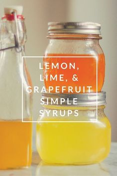 Simple Syrups What to do with zested citrus? Make these lemon, lime, and grapefruit simple syrups. Great in soda and cocktails. What to do with zested citrus? Make these lemon, lime, and grapefruit simple syrups. Great in soda and cocktails. Chutney, Soda Stream Recipes, Soda Syrup, Lemon Syrup, Ginger Syrup, Grapefruit Juice, Pineapple Juice, Antipasto, Gourmet