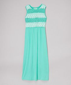 Look what I found on #zulily! Mint Lace Maxi Dress - Girls by Btween #zulilyfinds