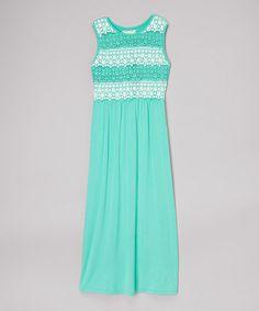 Mint Lace Maxi Dress by Btween #zulily #zulilyfinds