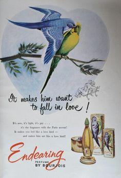'Endearing' by Bourjois. French perfume advertisement in Vogue November 1952