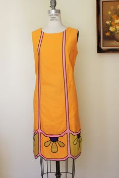 Vintage 1960s Orange Mod Mini Dress by Campus Casuals from Toadstool Farm Vintage, Online Vintage Clothing Store
