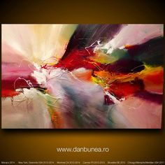 "Very large abstract painting by Dan Bunea: ""Glorious"", 150x100cm or 60x40in, acrylics on canvas, for sale on Etsy, 1.000,00 $"
