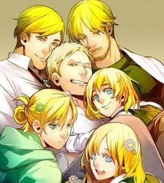 Erwin, Mike, Reiner, Armin, Annie, Christa/Historia, attack on titan, AOT, SNK