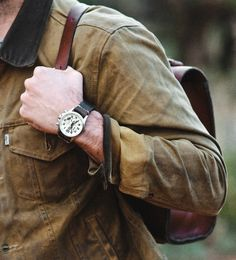 rockin' our favorite products… Bexar Goods Porter Satchel, Luminox watch, and the Filson/Levis Trucker