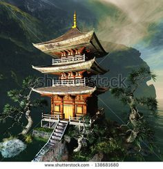 Picture of Zen buddhist temple in the mountains stock photo, images and stock photography. Samurai Tattoo, Samurai Art, Amaterasu, Japanese Pagoda, Japanese Tattoo Art, Japanese Temple Tattoo, Templer, Asian Tattoos, Japan Tattoo
