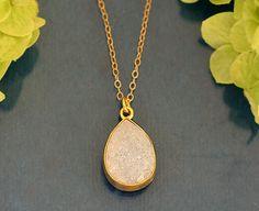 White Druzy Quartz Vermeil Gold bezel set necklace - Large Gemstone necklace. $49.99, via Etsy.