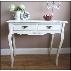 WHITE CONSOLE TABLE Storage LAMP TABLE Hallway Living Vintage