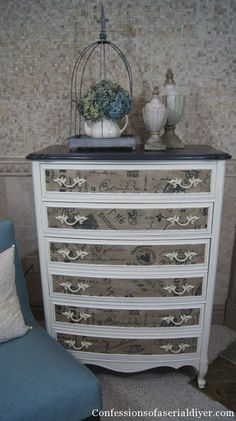 Dresser with Fabric Inlay | Confessions of a Serial Do-it-Yourselfer