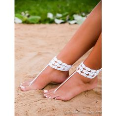 White Crochet Barefoot Sandal-Bridal Shoes-Foot Jewelry-Footless... ($19) ❤ liked on Polyvore featuring shoes, sandals, black, women's shoes, white bridal shoes, black sandals, black white sandals, beach wedding shoes and black white shoes