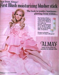 Almay 'First Blush' Moisturizing Blusher Stick Ad, 1969
