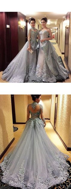 Glamorous Lavender Floral Long Sleeves Prom Party Dress With Appliques Party dress