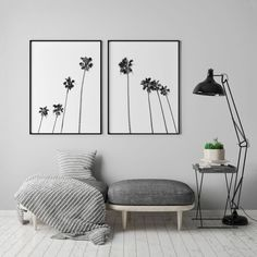 How to decorate a minimalistic home decor with printable wall art neptune art prints etsy shop minimal black and white palm tree print tropical leaf wall art work Leaf Wall Art, Tree Wall Art, Leaf Art, Palm Tree Print, Palm Trees, Above Bed Decor, Bedroom Decor, Wall Decor, Lokal