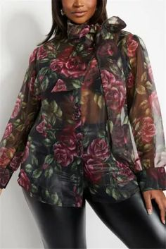 Green Sexy Perspective Rose Print Plus Size Top Rain Jacket, Bomber Jacket, African Wear Dresses, Perspective, Windbreaker, Plus Size, Rose, Sexy, Green