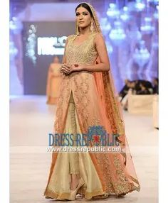 Crinkle Chiffon Diamond Neck Dress Loreal Paris Bridal Week Lahore 2014 Asifa Nabeel