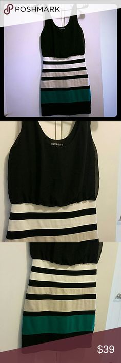 Express Black Striped Dress Beautiful, worn once on my honeymoon.  Tight fitting skirt attached to black top. Express Dresses