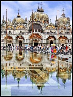 St. Mark's Basilica in Venice, Italy- This is a gorgeous photograph! We went in the off season which ended up being more enjoyable. Also we actually got to observe the high tide the last time we were there. It was quite the experience!