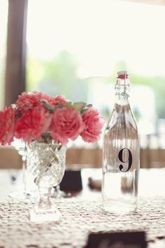 Vinyl table numbers for water bottles