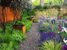 intense use of colour and strong geometry. Small Gardens, Outdoor Gardens, Tom Stuart Smith, Tropical Garden Design, English Country Gardens, Mediterranean Garden, Garden Borders, Summer Garden, Garden Inspiration