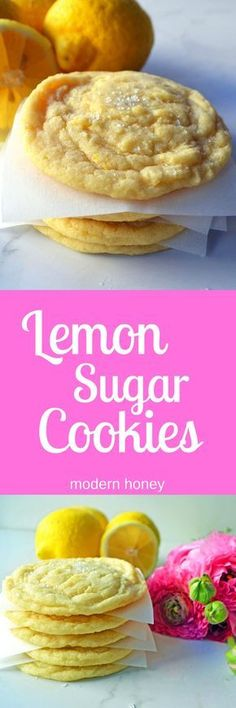 Lemon Sugar Cookies made with fresh lemon zest. The perfect soft and sweet lemon… Lemon Sugar Cookies made with fresh lemon zest. The perfect soft and sweet lemon cookie. Lemon Desserts, Lemon Recipes, Just Desserts, Sweet Recipes, Baking Recipes, Cookie Recipes, Delicious Desserts, Dessert Recipes, Yummy Food