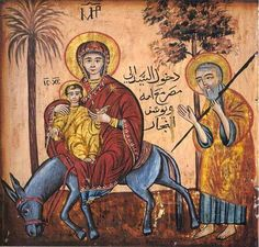 An icon from the Hanging Church in Old Cairo showing the Holy Family travelling in Egypt Religious Icons, Religious Art, Mama Mary, Folklore Stories, Byzantine Icons, Blessed Virgin Mary, Holy Family, Orthodox Icons, Blessed Mother