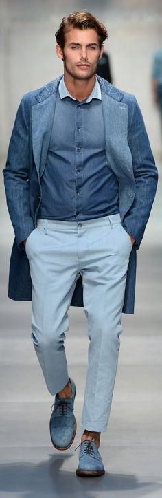 In the moment: Light blue color for men, guys you should have many clothes in this color so it's time to wear all you have