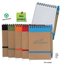 PCA 5951 ECONOMICAL POCKET SIZE NOTEBOOK Black wire bound, heavy stock tan cover with an accent color band at the top. Notebooks, Journals, Accent Colors, Red And Blue, Wire, Pocket, Band, Cover, Top