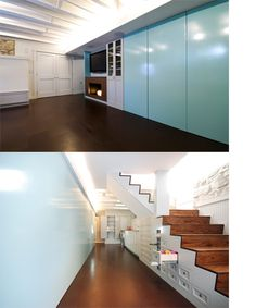 Basement office with glass sliders closed