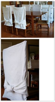 Chair covers dining chair covers and craft supplies on pinterest - How to make easy slipcovers for dining room chairs ...