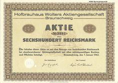 Braunschweig Hofbrauhaus Wolters  AG Aktie 600 RM 1942  | Quelle ebay.de