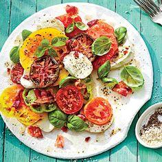 Hot Bacon Caprese Salad | MyRecipes.com http://www.myrecipes.com/recipe/hot-bacon-caprese-salad-50400000135556/