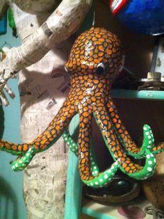 Hanging Paper Mache octopus