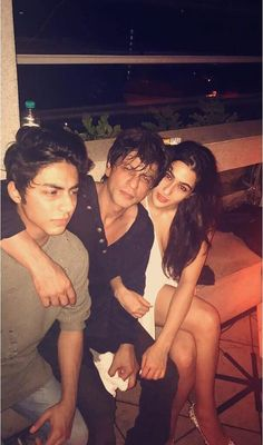 with Aryan and Sara Ali Khan at Karan Johar's BD party, May 2017
