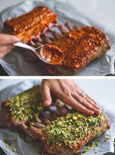 Lamskroontje met harissa en pistache: Een heerlijke bereiding van het alom geliefde lamskroontje. #YUMMIE