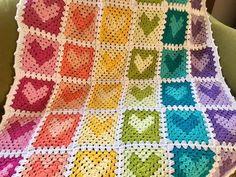 New Colorful Rainbow Valentine's Heart Hearts Handmade Heart Granny Square, Crochet Granny Square Afghan, Crochet Squares, Valentines Day Hearts, Valentine Heart, Crochet Blocks, Crochet Patterns, Happy Colors, Crochet Hearts