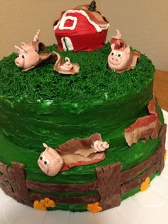 Pig-bacon cake I made for my nephew's bday. See my pin on how make bacon out of fondant