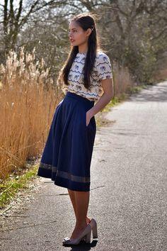 As seen on // Frances of style blog FrancesCassandra - Poppy Lux Wilma Scuba Midi Skirt Image