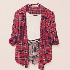 Flannel shirt, white tank, and black denim high-waisted shorts