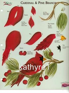 Donna Dewberry ONE Stroke RTG Worksheet Cardinal Pine Branch FOR Binder NEW | eBay