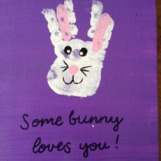 Some bunny loves you. Easter craft Mallory and I did today!
