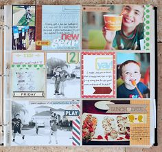 Love the look of the big photos with the bit of patterned paper. From Kelly Noel.
