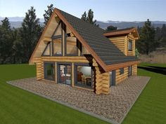 Log cabin plan with two floor plan options. Log package price for handcrafted log house in Douglas Fir or Western Red Cedar. Custom log home plan ideas. home plans, Log Cabin Floor Plans, Log Home Plans, Country Home Plans, Cabin Plans With Loft, Barn Plans, Country Homes, Loft Floor Plans, House Floor Plans, Plan Chalet