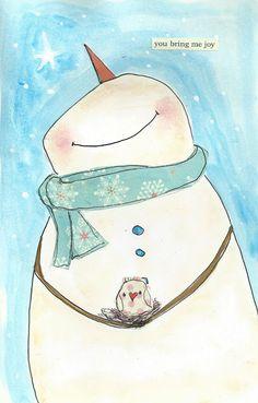 be still my heart ---- snowman and bird!!!! --- PbsArtStudio