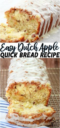 Apr 2020 - Dutch Apple Bread made from scratch with butter, sugar & fresh apples. Amazing flavor in this apple quick bread recipe topped with a cinnamon streusel & drizzled with warm vanilla glaze. from BUTTER WITH A SIDE OF BREAD Dutch Apple Bread Recipe, Tasty Bread Recipe, Quick Bread Recipes, Sweet Recipes, Cake Recipes, Dessert Recipes, Amish Recipes, Dutch Recipes, Recipe For Sweet Breads